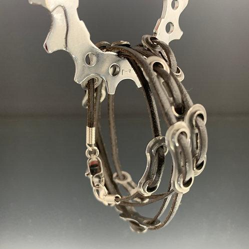 Unisex Leather One-Size-Fits-All: Spoked Bike Bracelet