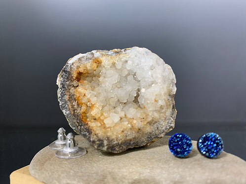 Small blue circle posts: Earrings Druzy Quartz