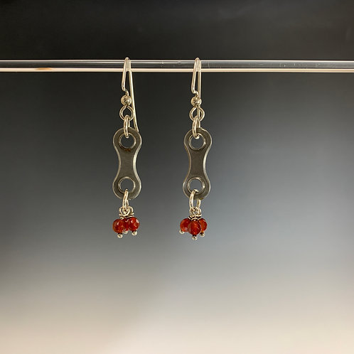 Sterling & faceted garnets: Spoked Bike Chain Earring