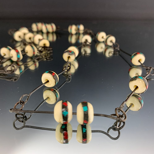 White bone & inlay beads necklace: African Beads & Steel Necklace
