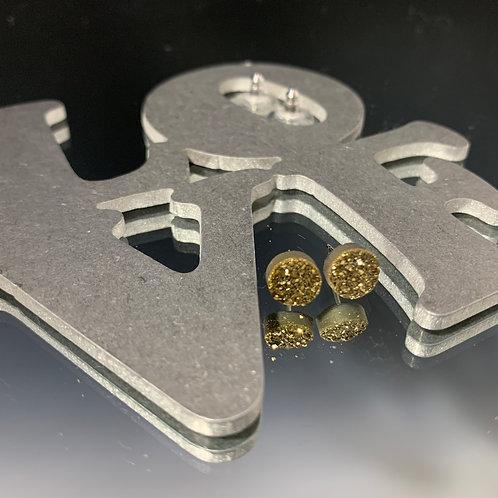 Small Gold circle posts: Earrings Druzy Quartz