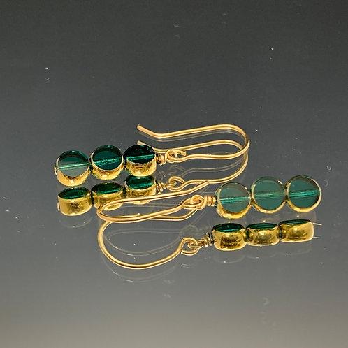 3 Small Bluish Green Circles-22K Vintage Glass