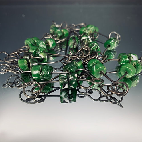 Green beads necklace: African Beads & Steel Necklace