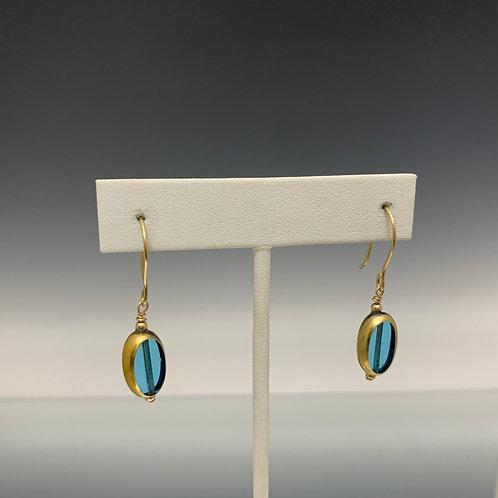Clear Blue Oval: 22 K Vintage Glass