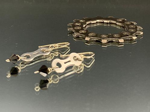 Sterling Earwire & Black Swarovski Crystal: Spoked Bike Chain Earring