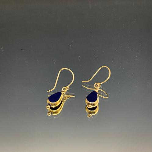 Small Navy Blue Teardrop: 22K Vintage Glass