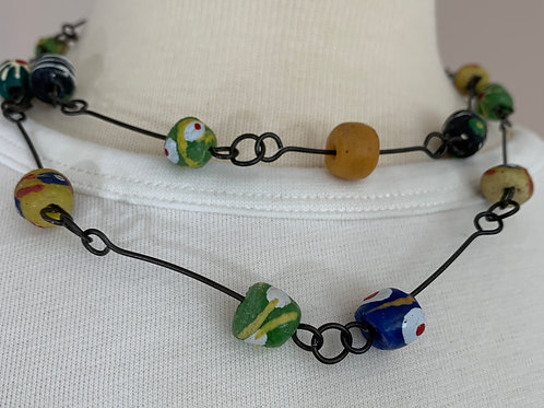 Multiple colors necklace: African Beads & Steel Necklace