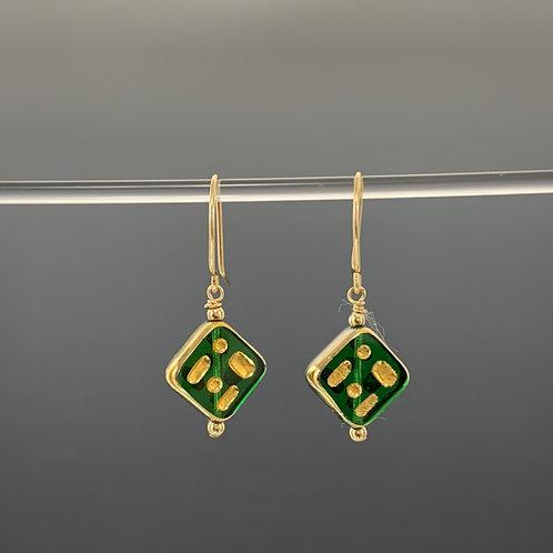 Emerald Diamond w/Marks: 22k Vintage Glass