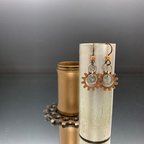 Niobium earwire & copper components: Spoked bike chain earrings