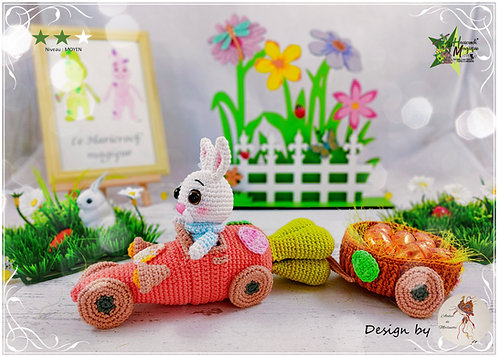 Tutoriel au crochet, amigurumi : La voiture carotte du lapin de Pâques