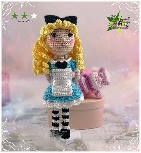 Tutoriel au crochet, amigurumi : Melle Alice et Cheshire