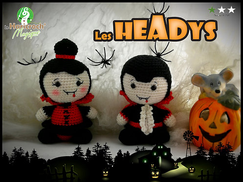 Tutoriel au crochet, amigurumi : Les Headys d'Halloween