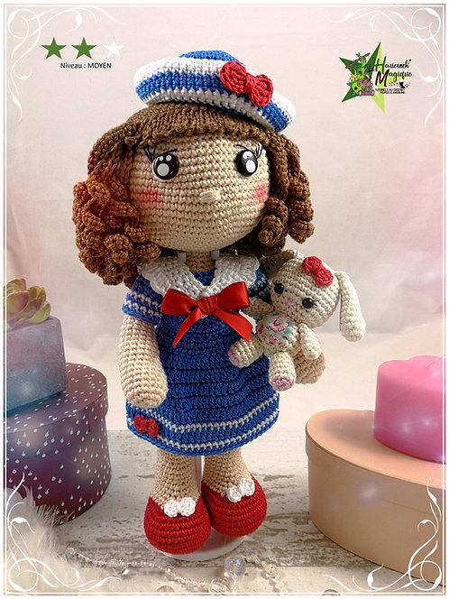 Tutoriel au crochet, amigurumi : poupée Marine et Doudou