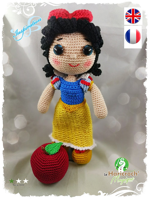 "Tutoriel au crochet, amigurumi : poupée ""inspiration"" Blanche Neige"