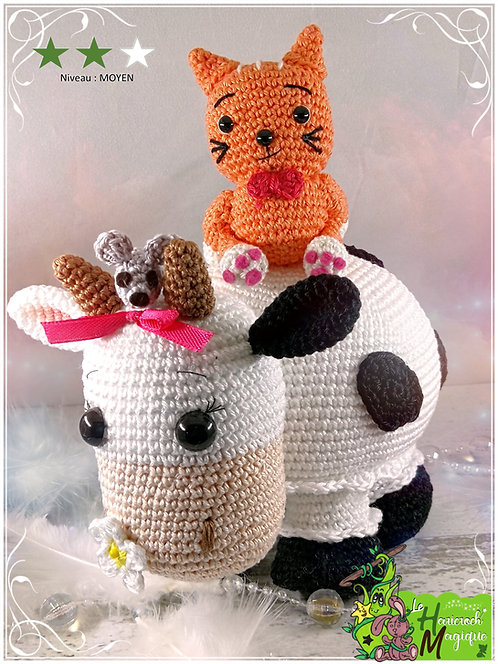 Tutoriel au crochet, amigurumi : Milky, Quincy et Kitty