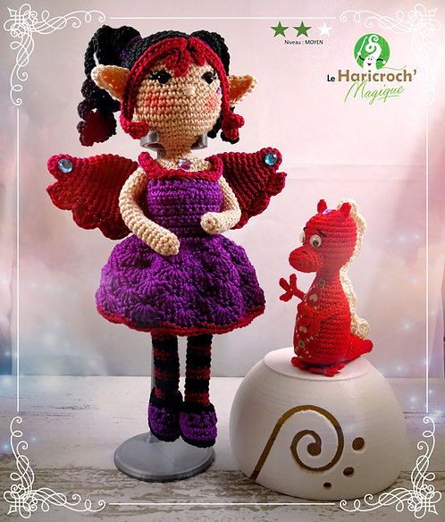 Tutoriel au crochet, amigurumi : Lorelei la sorcière Elfique et son dino