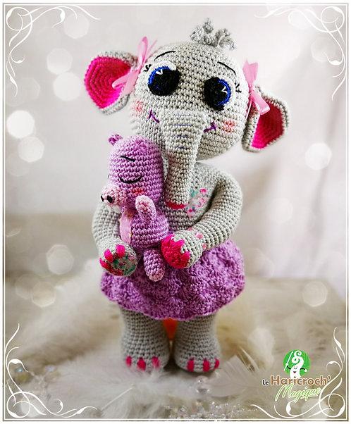 Tutoriel au crochet, amigurumi : Garance l'éléphante et doudou