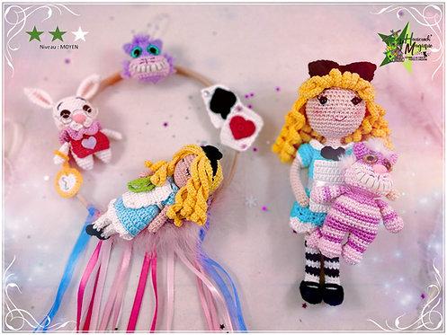 Pack 2 tutoriels au crochet, amigurumis : Melle Alice et Rêve de Alice