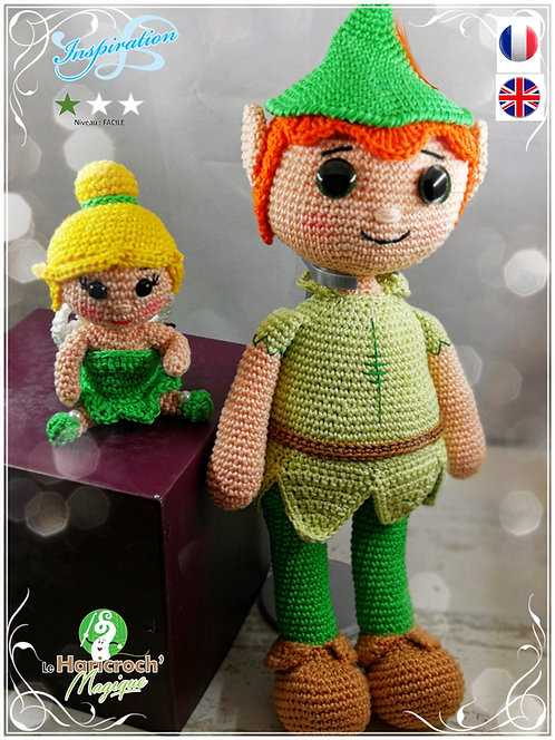 """Tutoriel au crochet, amigurumi : """"Inspiration"""" Peter Pan et la fée Clochette"""