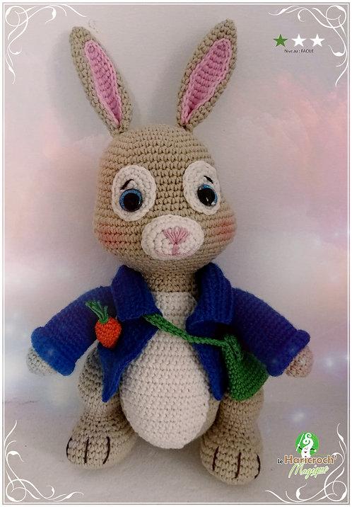 Tutoriel au crochet, modèle amigurumi : Barnabé le lapin jardinier