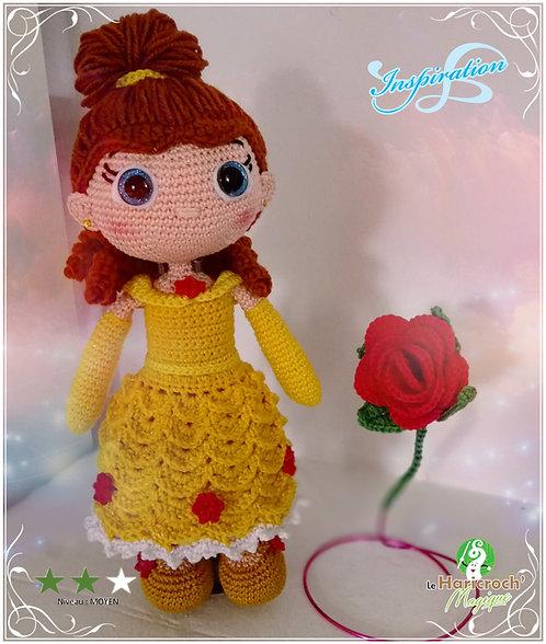 Tutoriel au crochet, amigurumi : poupée, princesse au crochet inspiration Belle