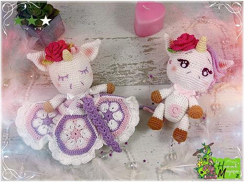 Tutoriel au crochet, amigurumi : Pack Noélie la licorne et Doudou