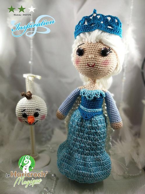 """Tutoriel au crochet, amigurumi : poupée inspiration """"reine des neiges"""""""