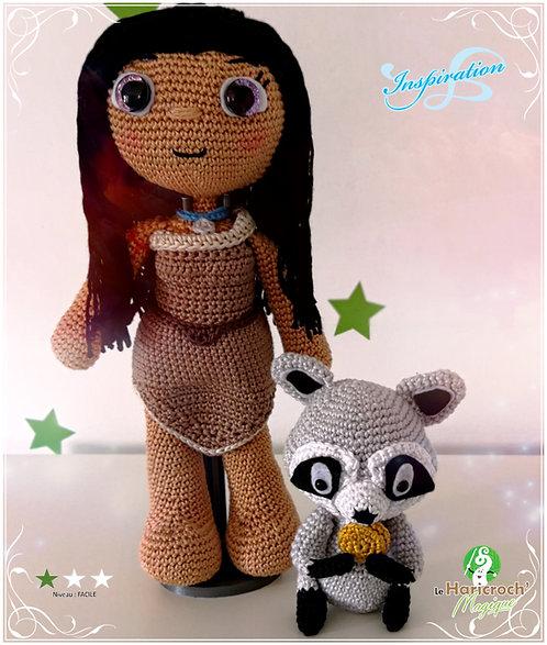 "Tutoriel au crochet, amigurumi : Poupée ""Inspiration""Pocahontas et Meeko"