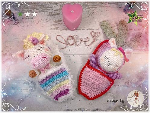 Pack 2 tutoriels au crochet, amigurumis : Bonne nuit licorne et lapinou