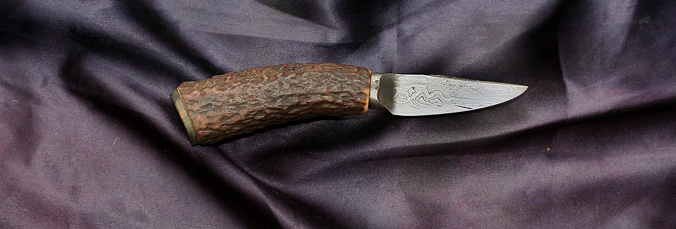 60mm Damascus Pocket Knife & sheath