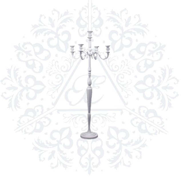 White 60in Candelabra Stand