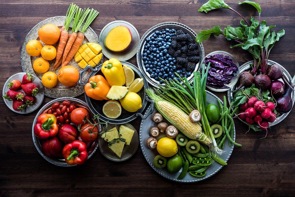 Thrive Once More Rainbow food on Wood Ta