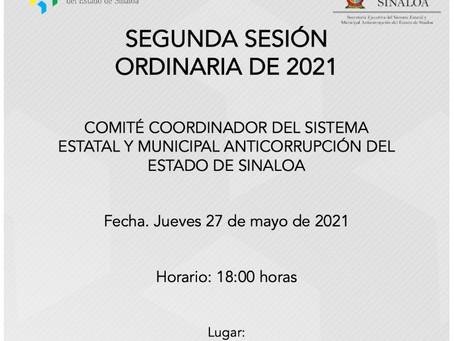 SEGUNDA SESIÓN ORDINARIA DE 2021 DEL COMITÉ COORDINADOR