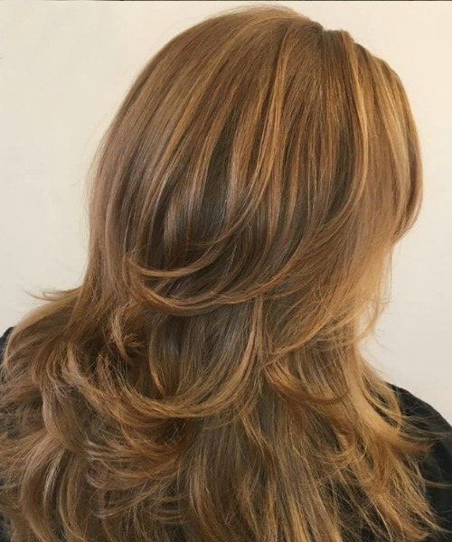 woman's hair thick long reddish blonde l