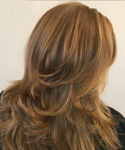 woman's hair thick long reddish blonde l