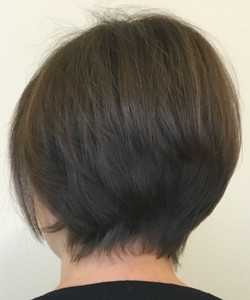 woman's short thin bob with fringe botto