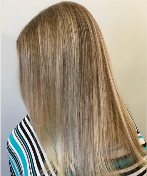 woman's hair long blonde highlights