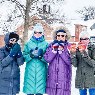 ...Remember the picture you got recently of the 3 pairs of mittens from the walking group with Pam, Moira, and Penny? I'm the 4th in the group and now we all have LucyBlues!! Linda, IL