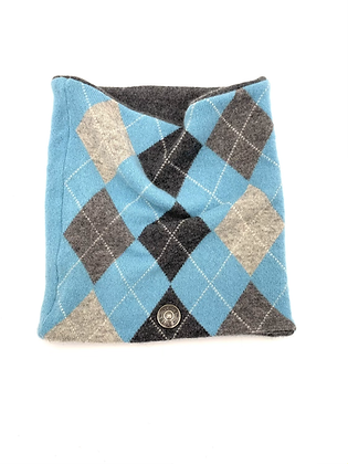 Mint Blue Argyle Cashmere Neck Warmer