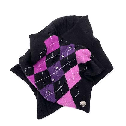 Purple Argyle with buttons Cashmere Neck Wrap
