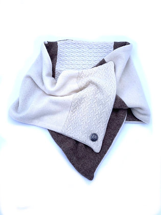 Cream & Light Brown Cashmere Neck Wrap