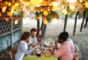 A mixed group of five adults is sharig a meal at a backyard table under trees and party lights