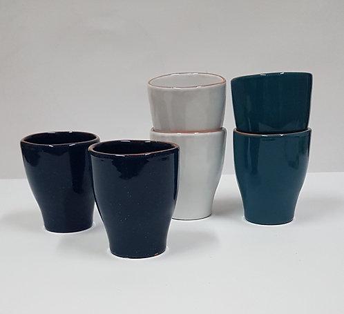 lot de 2 Gobelets  à thé en ceramique 30cl bleu nuit