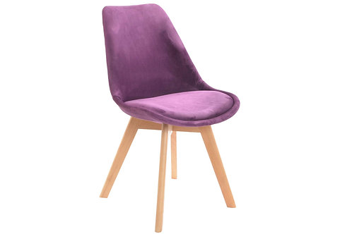 Chaise Bois/ Velours violet