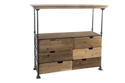 Etagere bois métal 130x40x123