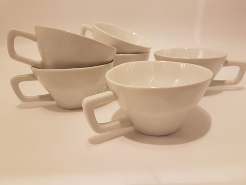 lot 6 Tasses Blanches porcelaine