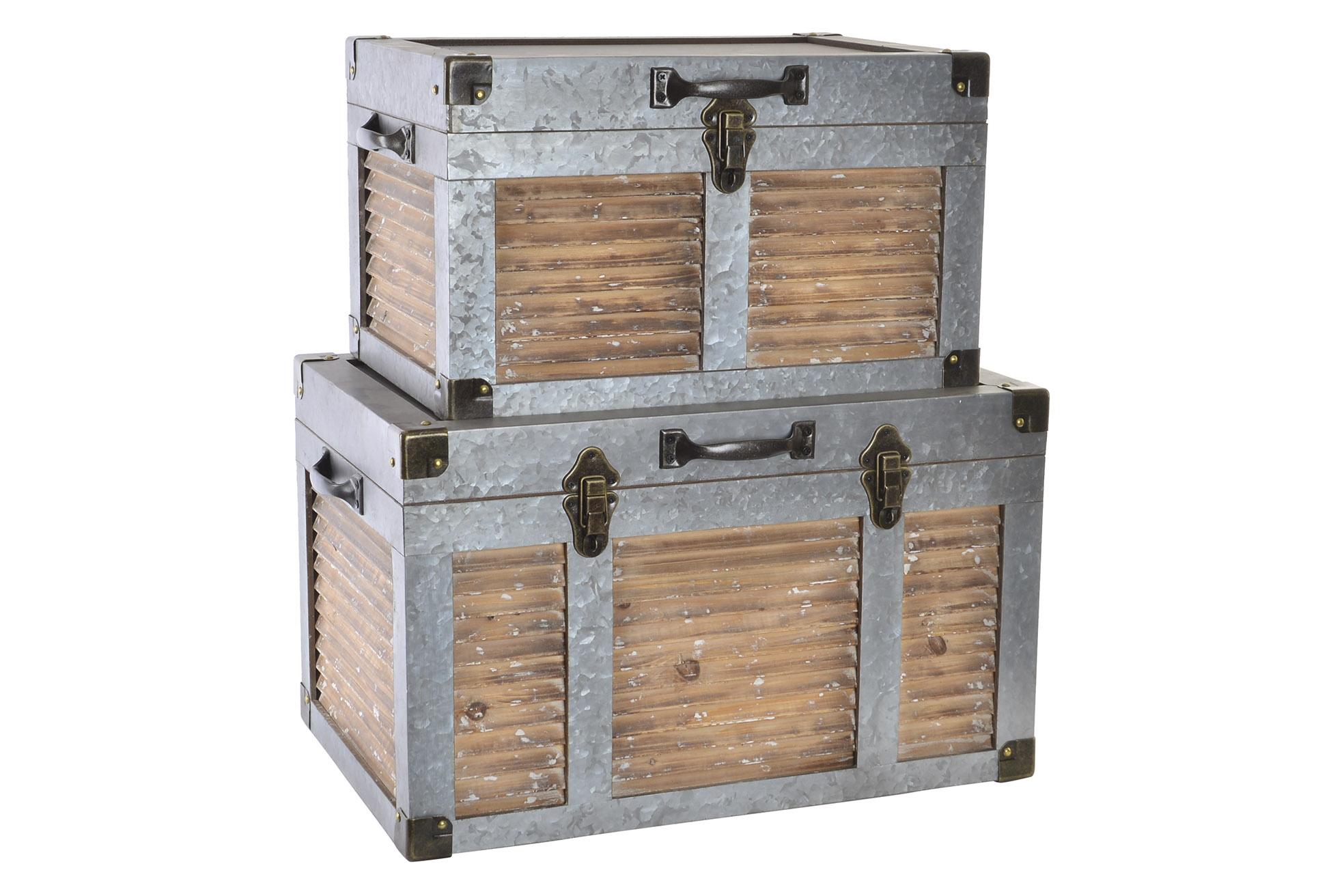Coffre set 2 bois métal 60x40x37