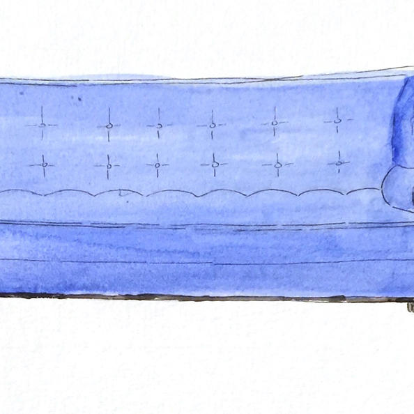 Blue Chesterfield - Watercolor