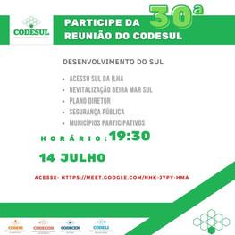 Convite 30ª reunião do Conselho de Desenvolvimento do Sul