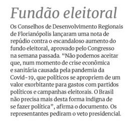 Conselhos de Desenvolvimento de Florianópolis REPUDIAM aumento do fundo eleitoral